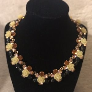 J.CREW CRYSTAL FLOWERS NECKLACE MULTI